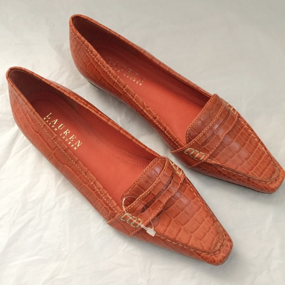 LRL Sibley Orange Leather Croc Loafers